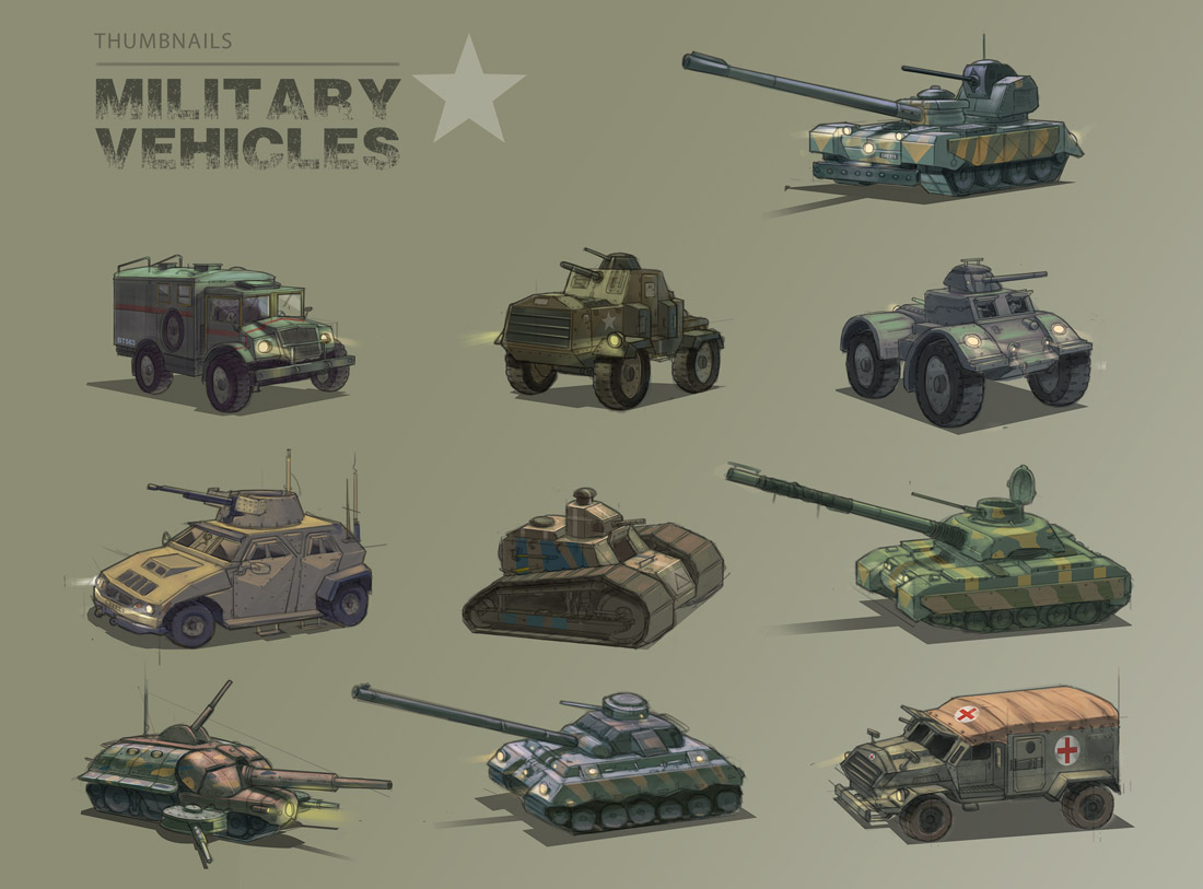 military vehicle sketches